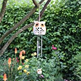 Ceramic Snowy Owl Wind Chime with Solar Light - Colour Changing