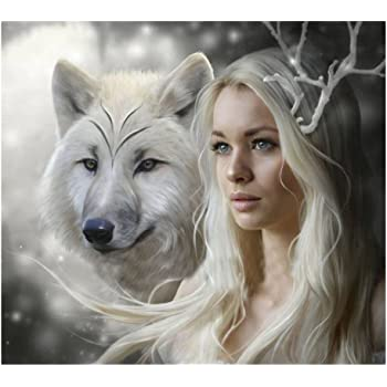 Wolf Family 12x16 inch ESOOR DIY 5D Diamond Painting by Number Kits Crystal Rhinestone Diamond Embroidery Paintings Pictures Arts Craft for Home Wall Decor