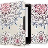 kwmobile Hülle für Tolino Vision 1 / 2 / 3 / 4 HD - Flipcover Case eReader Schutzhülle - Bookstyle Klapphülle Vintage Blumenring Design Pink Blau Weiß
