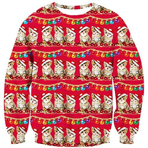 Goodstoworld Hässliche Weihnachtspullover 3D cat Junge Pullover Weihnachten Katze Sweatshirt Ugly Christmas Sweater Junge S