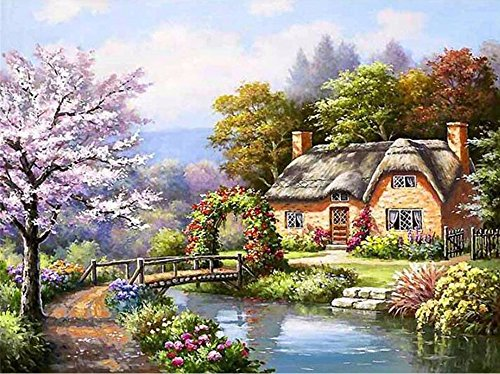 5D DIY Diamond Painting by Numbers Kits, Crystal Embroidery Cross Stitch Rhinestone Mosaic Drawing Art Craft Home Wall Decor, Flower Hut 11.8*15.7 Inch