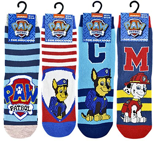 (4 Pairs) - Boys Paw Patrol Chase and Marshall Ankle Socks