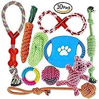welpenspielzeug Baumwollseil hunde spielzeug kauspielzeug Zahnreinigung Tauziehen Spielzeugset - Packung mit 10 PCS