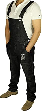 Mens New King Size Denim Dungarees Jeans in Black MID WASH Colours Sizes 30-60 (W-38, Black)