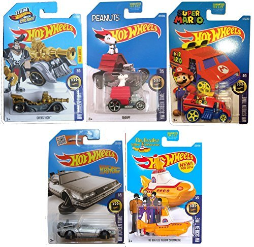 Hot Wheels 2016 HW Screen Time 5-Car Set Back to the Future Delorean Time Machine Hover Mode, Cool One Super Mario, Peanuts Snoopy, Team Hot Wheels Grease Rod Treasure Hunt, & Beatles Yellow Submarine by Team Hot Wheels
