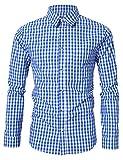 KoJooin Trachten Herren Hemd Trachtenhemd Langarmhemd Freizeithemd Baumwolle - für Oktoberfest, Business, Freizeit (L / 38, Blau)