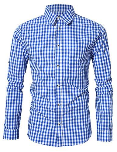 KoJooin Trachten Herren Hemd Trachtenhemd Langarmhemd Freizeithemd Baumwolle - für Oktoberfest, Business, Freizeit (Blau M)