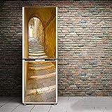 HHYS Kühlschrank-Aufkleber PVC-Material Jahrgang Gelb Treppe Muster Selbstklebend,60X180cm(23.6''X70.8'')