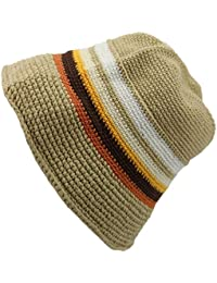 BEIGE STRIPE COTTON CROCHET BUCKET HAT