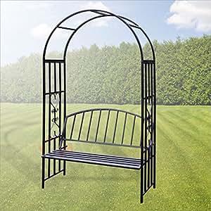 arche de jardin turin avec banc pour rosier et plante grimpante bricolage. Black Bedroom Furniture Sets. Home Design Ideas