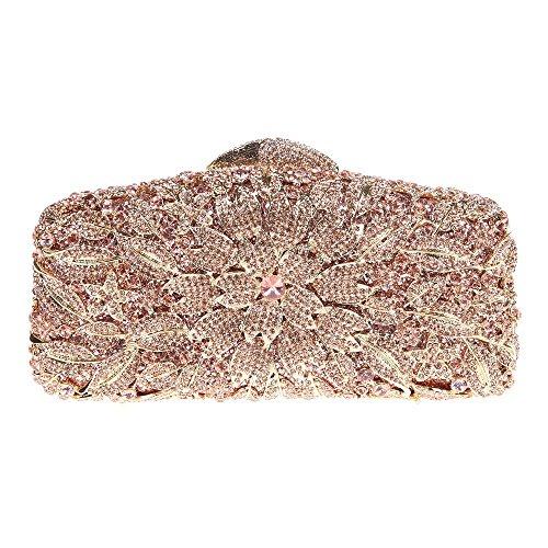 Santimon Clutch Delle Donne Flore Borsa Di Strass Diamante Cristallo Da Festa di Nozze Sera Con Tracolla Amovibile e Pacco Regalo 8 Colori oro rosa