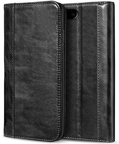 Apple iPhone 8 Plus Echtes Leder Hülle, ProCase Vintage Geldbörse Falten Flip Case mit Kickstand und Kartensteckplätze Magnetverschluss Schutzhülle für Apple iPhone 8 Plus/iPhone 7 Plus -Schwarz - Apple Iphone Holster