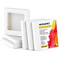 """MIAHART 6 Pcs 4""""x4"""" Mini Toile Tendue Blanche Toile Blanche 10x10cm Tableaux Art Toiles pour Peinture à l'Huile…"""