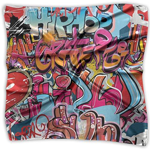 Mixed Designs Silk Square Scarves Bandana Scarf, Hip Hop Street Culture Harlem New York City Wall Graffiti Art Spray Artwork Image,Womens Neck Head Set Soft Cowl Neck