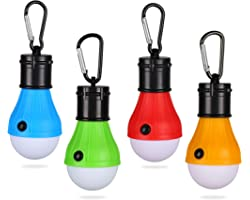 Yizhet Camping Lights, Tent Lights with Carabiner Clips Waterproof Battery Powered LED Camping Lantern Portable Bulb Camping