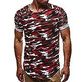 T-Shirts,Honestyi 2018 Neueste Modell Mode Persönlichkeit Cool und Stylisch mit O-Ausschnitt Tarnung Herren Beiläufig Schlank Kurzarm Shirt Oberteil Bluse Sweatshirt Oversize M-XXXL (L, Rot)