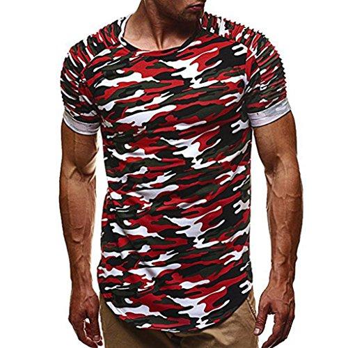 T-Shirts,Honestyi 2018 Modell Mode Persönlichkeit Cool und Stylisch mit O-Ausschnitt Tarnung Herren Beiläufig Schlank Kurzarm Shirt Oberteil Bluse Sweatshirt Oversize M-XXXL (M, Rot)