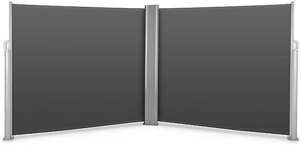 blumfeldt Bari Doppio 616 - Doppel-Seitenmarkise, Standmarkise, Seitenrollo, Sichtschutz, Sonnenschutz, Polyester, pro Seite 300x160cm, ausziehbar, UV-beständig, selbstspannend, anthrazit