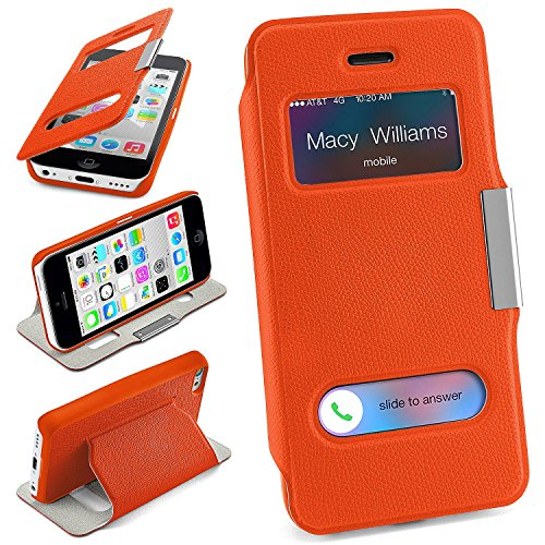 iPhone 5C Hülle Orange mit Sicht-Fenster [OneFlow Window Cover] Schutzhülle Ultra-Slim Handyhülle für iPhone 5C Case Flip Handy-Tasche Stand-Funktion (Iphone 5c Flip Cover Mit Fenster)