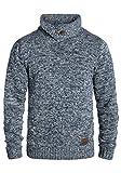 !Solid Prentice Jersey De Punto Suéter Sudadera De Punto Grueso para Hombre con Cuello Alto De 100% algodón, tamaño:XL, Color:Insignia Blue (1991)