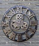 HAIBUHA Wanduhren Mute American Retro Kreative Uhr Kunst Wanduhr Sitting Room Individualität Industriegetriebe Uhren Ultra Silent Home Dekorative Wandmontierte Uhr (Farbe : B, Größe : 58cm)