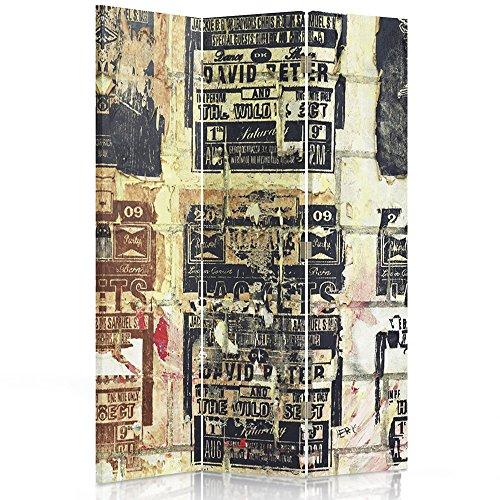 Feeby Frames Biombo Impreso Sobre Lona, tabique Decorativo para Habitaciones, a una Cara, de 3 Piezas (110x150 cm), INSCRIPCIONES, Vintage, Color, MARRÓN