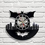 Batman Art Vinyl Wall Clock Chambre Cadeau Modern Home Enregistrement Décoration Vintage