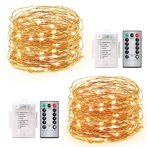 Guirlande Lumineuse Spriak [Paquet de 2] 5M 50 LEDs, LED Etanche à Piles Extérieur/Intérieur, 8 modes, Fonction Minuterie, Décoration Maison,Fêtes, Mariages