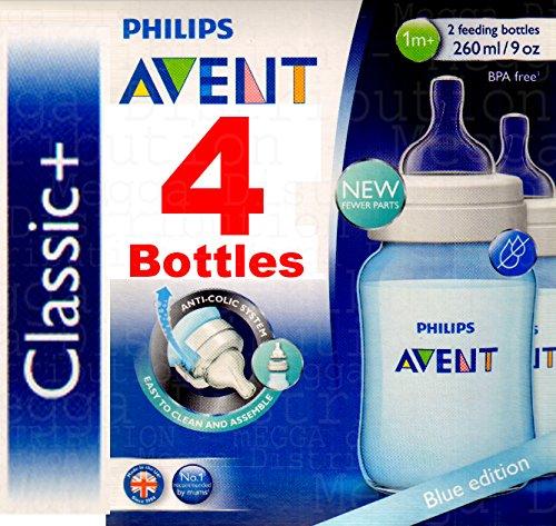 Philips Avent Classic 260mlFlaschen, Anti-Kolik, BPA-frei, Blau,4Stück (Ck Brust)