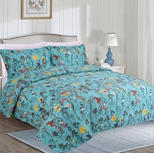 beddingleer per tutte le stagioni blu tulip 100% cotone 3pezzi trapuntato floreale patchwork trapunta, set di 31Trapunta Copriletto 230x 250cm e 2federe