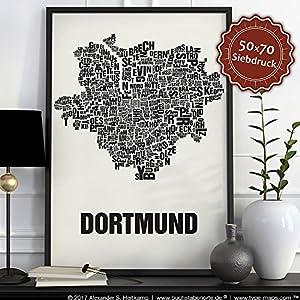 Dortmund Buchstabenort Schwarz auf Naturweiß