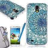 We Love Case Funda Carcasa para Samsung Galaxy S4 Silicona TPU Suave Funda Cascara Protección Anti Polvo Resistente Diseño Creativo Original de Moda Nuevamente con 1 x Stylus y 1 x Protector de Pantalla y 1 x Colk Anti-Polvo ( Samsung Galaxy S4 , dibujo Lotus Azul )