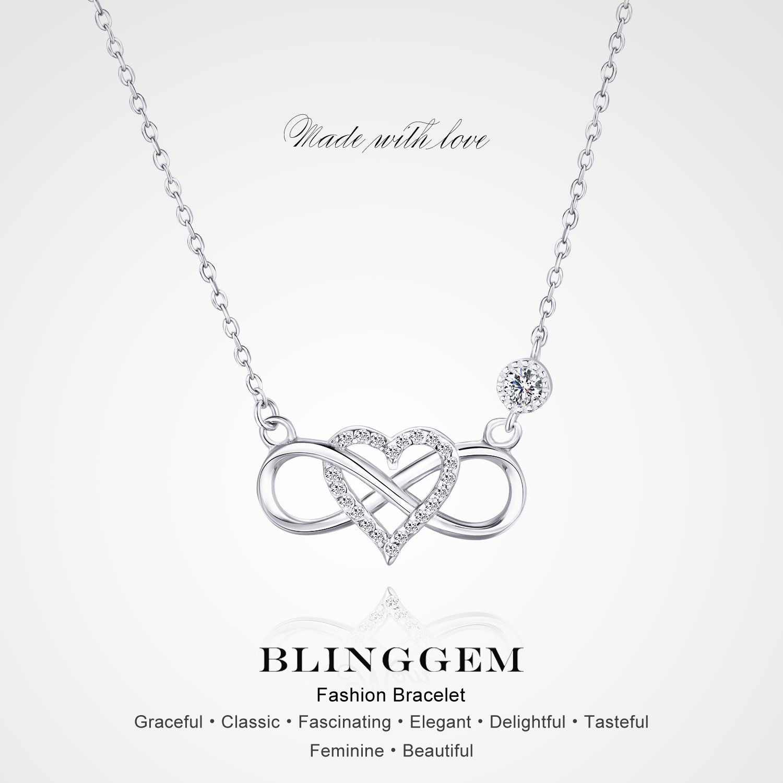2c72d0914 BlingGem Collier pour Femme en Argent 925/1000 avec Oxyde de Zirconium Rond  Coeur Infini Amour Symbol Ensemble pour Toujours,48 cm