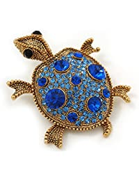 Sapphire/ Sky Blue Coloured Diamante 'Turtle' Brooch In Gold Plating - 5.5cm Length