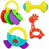 Vibgyor Vibes™ Non Toxic Multi Coloured Rattles for Infants and Toddlers. Pack of 4 Different Rattles