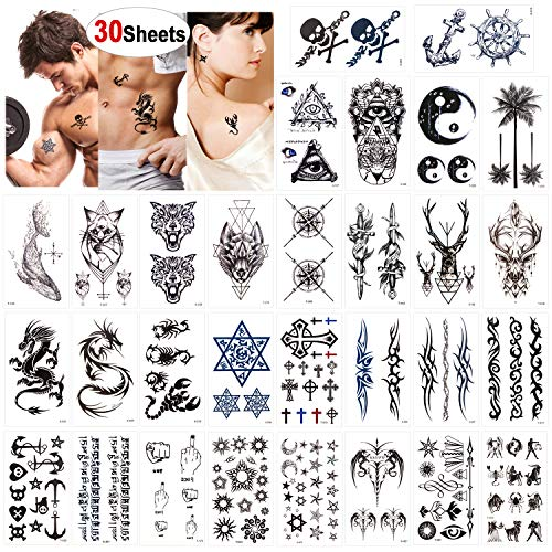 Konsait 30 fogli tatuaggi temporanei per adulti uomo donne, impermeabili tatuaggio temporaneo adesivo body art, drago scorpione lupo maori