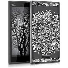 "kwmobile Funda para Wiko Ridge Fab 4G (5.5"") - Case de cristal plástico para móvil - Cover trasero Diseño flor en blanco transparente"