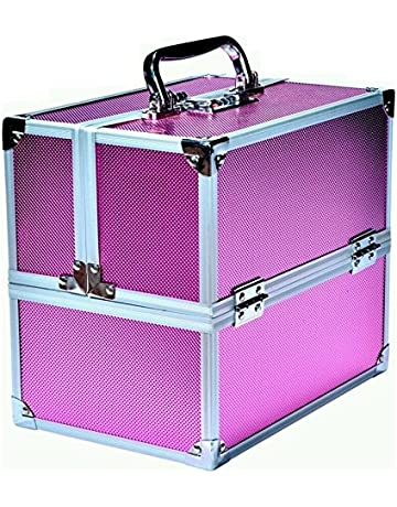 d32c20ac646 Pride Star Women's Faux Leather Hard Sided Luggage Cosmetic Cases (Pink)