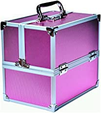 Pride Faux Leather Pink Hard Sided Luggage Cosmetic Cases