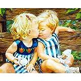 DIY Digital Malen nach Zahlen Codierung Ölgemälde Umrahmt von Box Acrylbild Kissing Baby Coloring moderne Wand Kunst Bild Home Decor 16 × 20 Zoll Geburtstag Hochzeit Weihnachten das Erntedankfest Geschenk für Kinder und Erwachsene