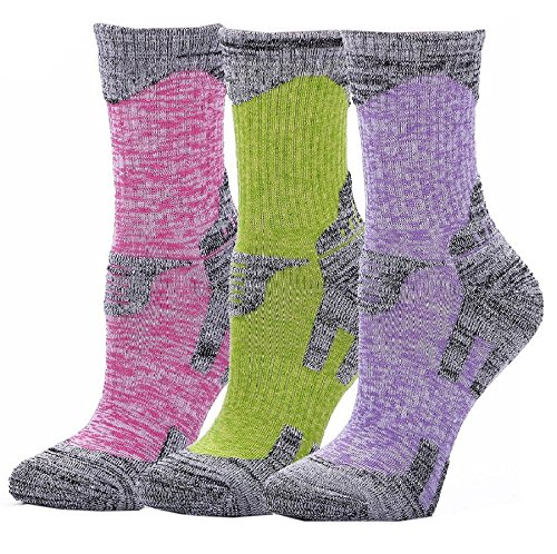 Women's Hiking Socks Cushion Outdoor Crew Athletic Camping Running 3-Pack
