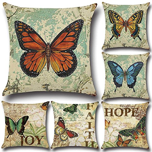 pillowcases FashionMall Retro Vintage Butterfly Cotton Linen 18