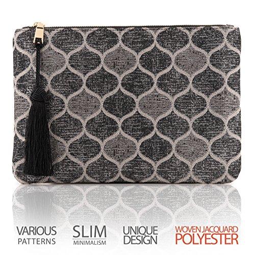 OTTO Pochette di Design da Donna in tessuto con Nappina sulla Zip - Perfetta per organizzare la borsa, per trucchi, chiavi, specchietto e carte di credito, come pochette per la sera - Leggera e compat Goccia Monocromatica
