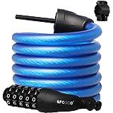 SPGOOD Fietsslot kabel 180CM/12MM (9 kleuren) fietsketting/fietsslot met 5-cijferige codes Combinatie Kabelslot voor fietscyc
