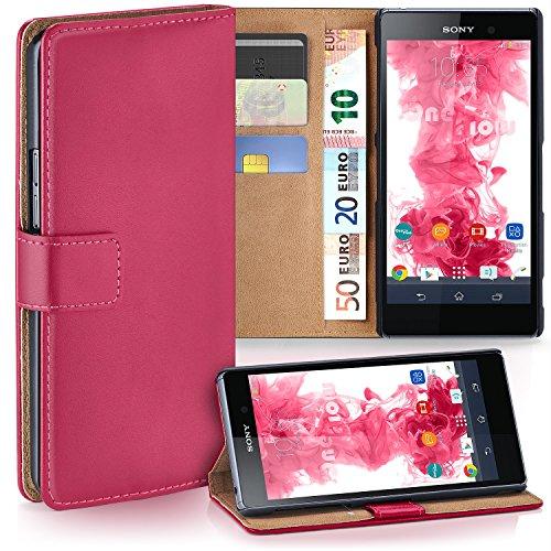 moex Sony Xperia Z1   Hülle Pink mit Karten-Fach 360° Book Klapp-Hülle Handytasche Kunst-Leder Handyhülle für Sony Xperia Z1 Case Flip Cover Schutzhülle Tasche