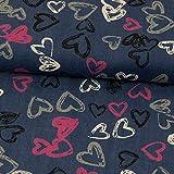 Stoffe Werning Jeans per Camicie, con Cuori, Blu Jeans, Tessuto alla Moda per Bambini - Prezzo per 0,5 Metri