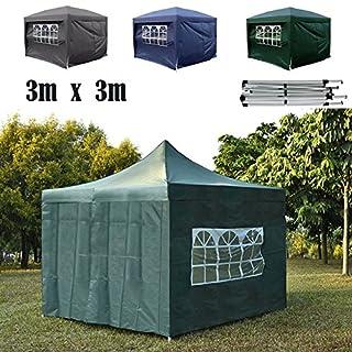 AutoBaBa All Seasons Gazebos, 3x3m POP-UP Garden Gazebo Marquee Tent with 4 Sidewalls, Fully Waterproof, Powder Coated Steel Frame for Outdoor Wedding Garden Party, PVC, Green