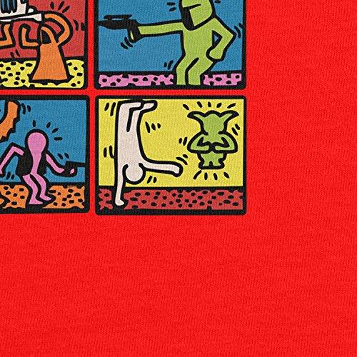 Planet Nerd - Star Art - Herren Langarm T-Shirt Rot