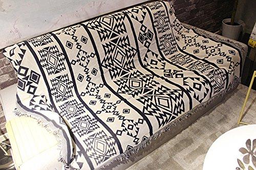 130 cm x 170 cm chenille Jacquard Pompon Jeté de lit Canapé Housse de chaise Nappe pour le camping Tapisserie Jeté de lit réversible géométrique Style (129,5 x 170,2 cm)