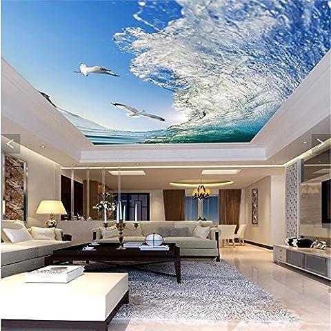 Sproud Decke Home Dekoration Sea Wave Pigeon Blue Sky Tapete Wohnzimmer Schlafzimmer Hintergrund Wandmalereien Esszimmer Wallpaper 350 cmX 245 cm